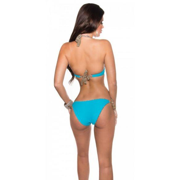 Kék strasszos bikini leo mintával