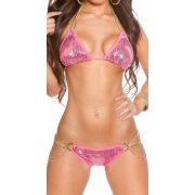 Rózsaszín flitteres láncos bikini