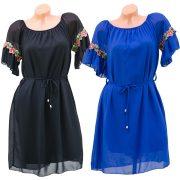 Vállra húzható ujján hímzéses kék ruha