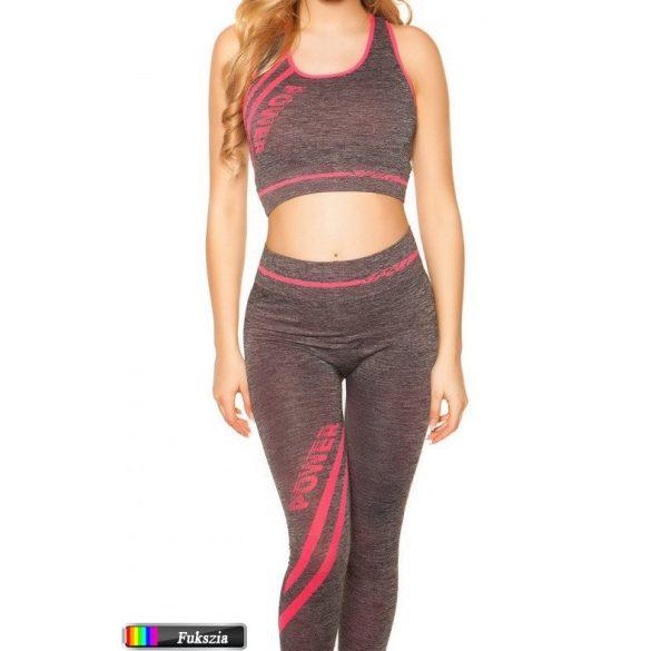 Fitnesz crop top + leggings szett