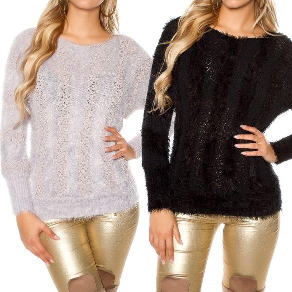 Kötött szőrmés pulóver
