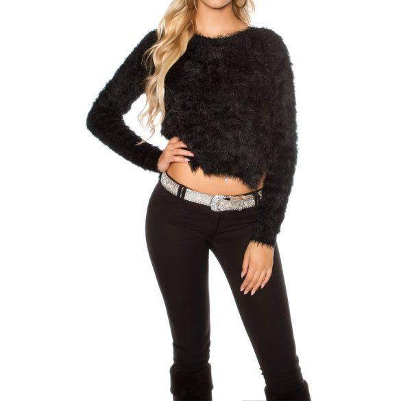 Asszimetrikus szőrmés pulóver