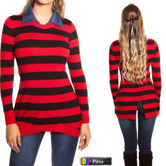 Csíkos ingnyakú pulóver