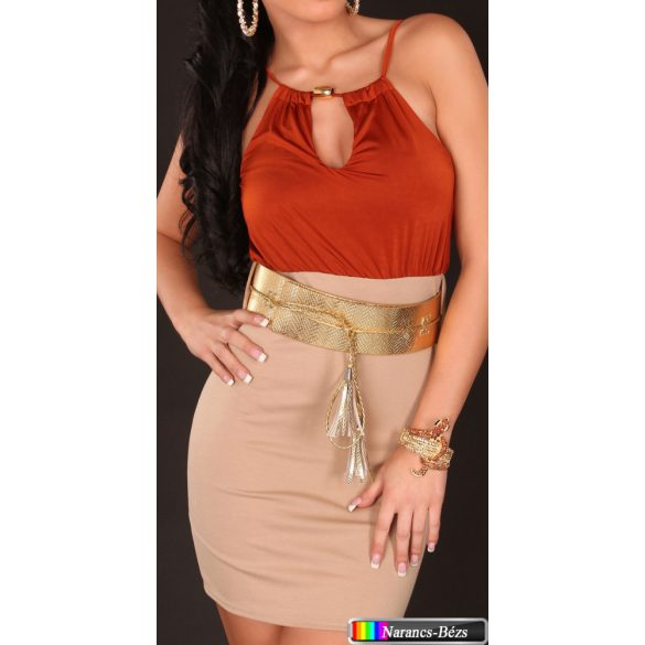 Bicolor ruha széles övvel