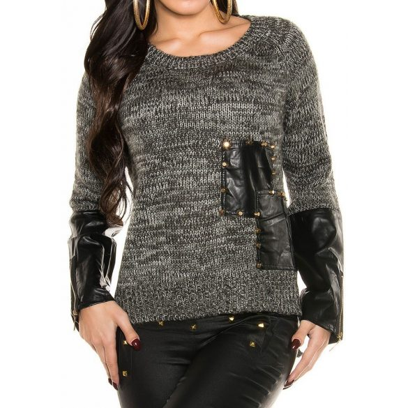 Bőrbetétes kötött pulóver