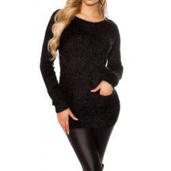 Zsebes szőrmés pulóver