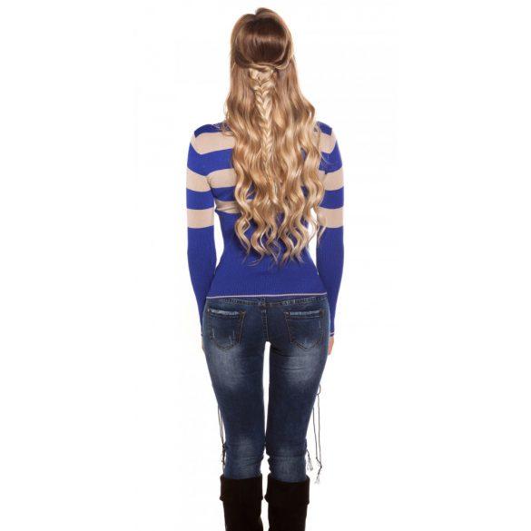 Csíkos kötött pulóver