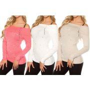 Gyöngyös vállra húzható pulóver