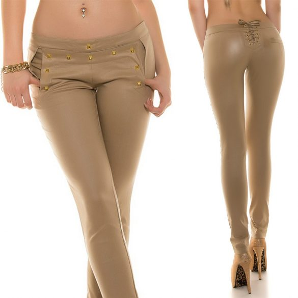 Bőr hatású fűzős nadrág