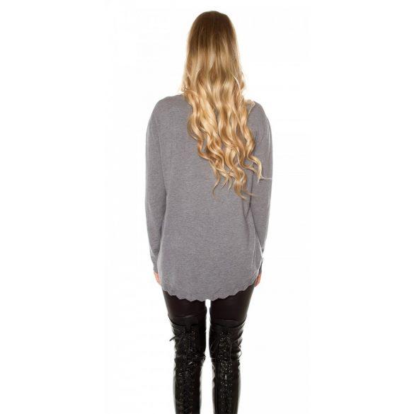 Kötött szürke pulóver