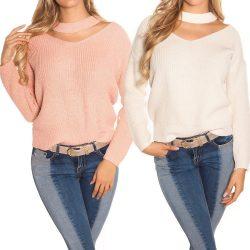 Átlapolt kötött női pulóver