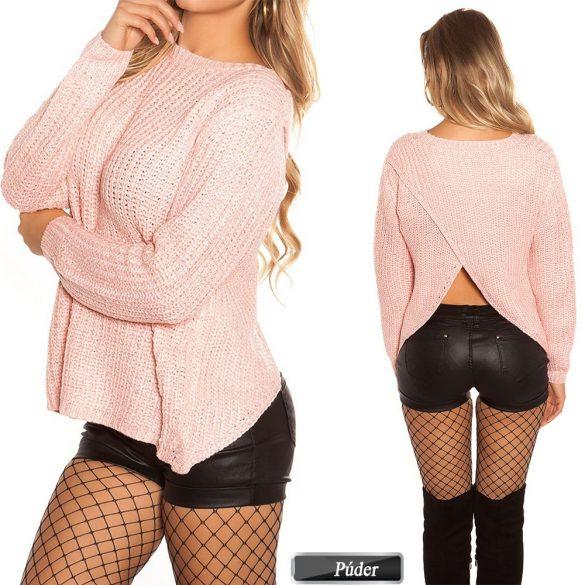 Ejtett nyakú kötött pulóver