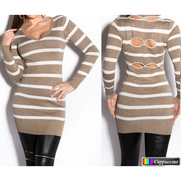Csíkos finomkötött pulóver