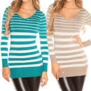Csíkos csillámos pulóver