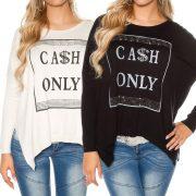 Feliratos asszimetrikus pulóver