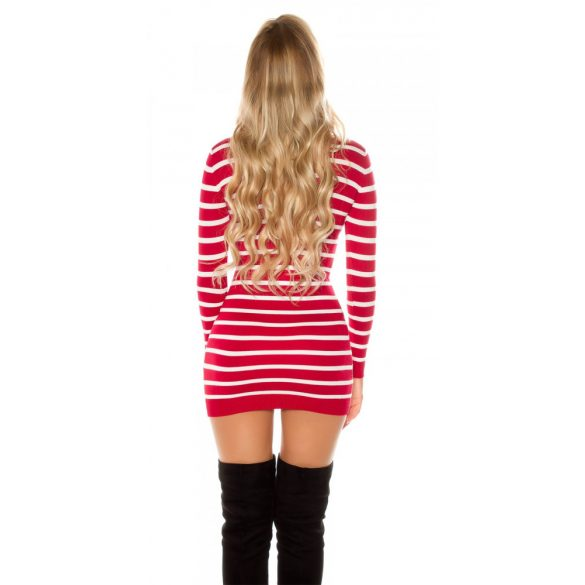 Feliratos csíkos kötött pulóver