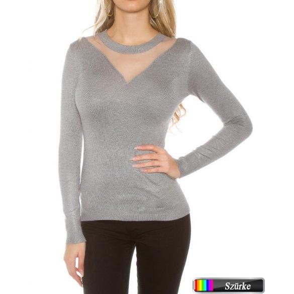 Tüll betétes pulóver
