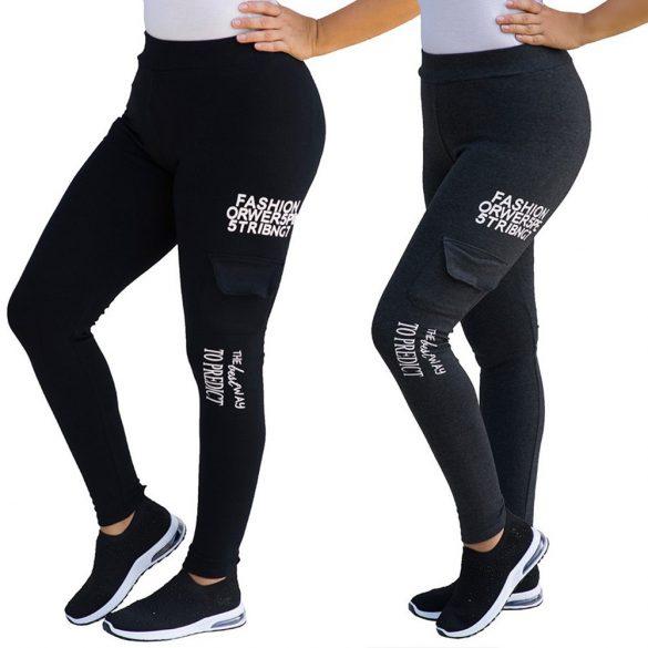 Feliratos zsebes leggings nadrág