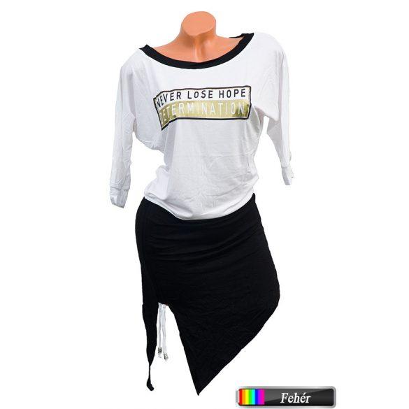 Asszimetrikus feliratos ruha