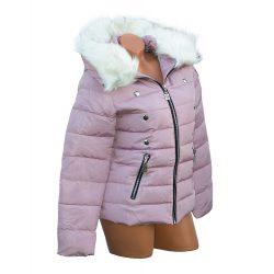 Szőrmés kapucnis steppelt dzseki