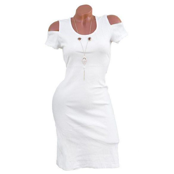 Nyitott vállú bordázott anyagú ruha nyaklánccal