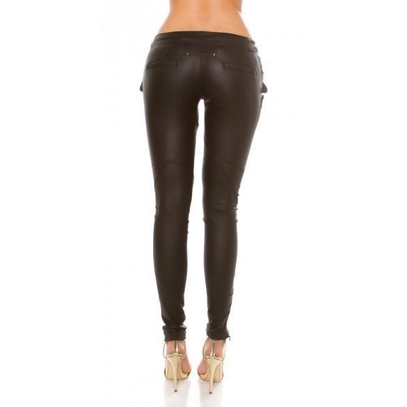 Trendi fekete bőr hatású nadrág