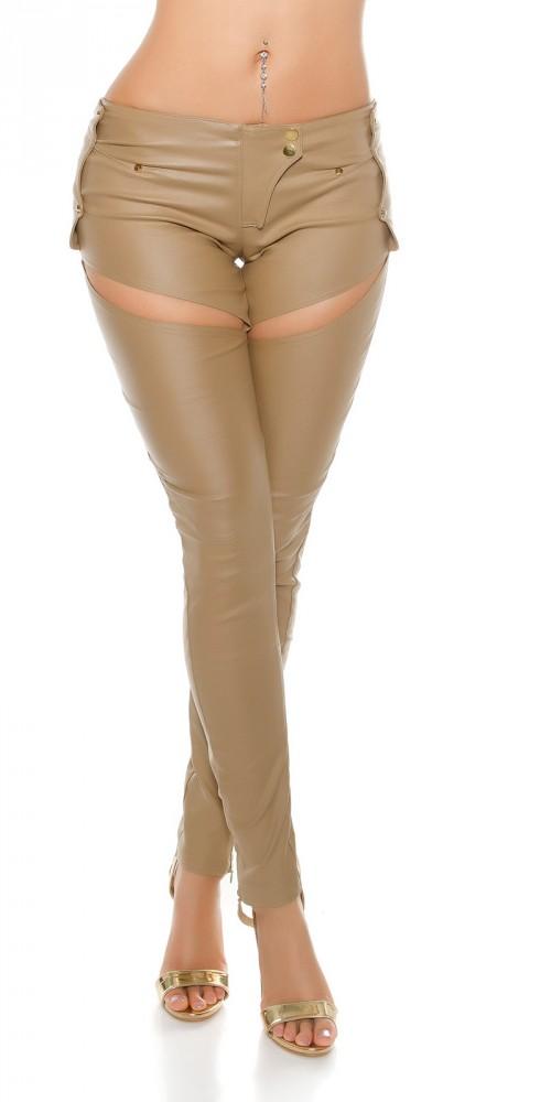 f01c90d787 Trendi bézs bőr hatású nadrág - Venus fashion női ruha webáruház ...