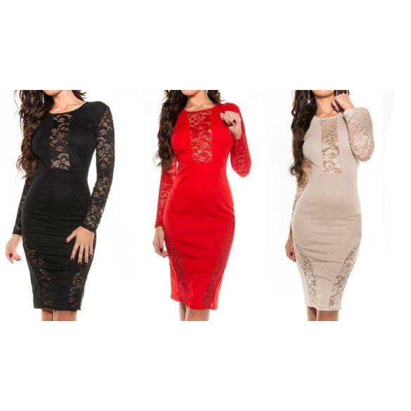 Dekoratív hosszú ujjú csipkés ruha több színben