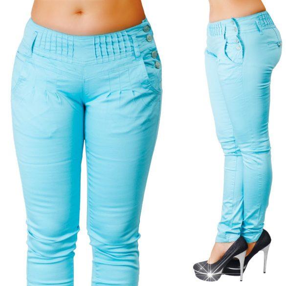 Oldalt gombos türkiz színű nadrág XS-S-M-L-XL