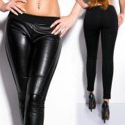 Fekete bőr hatású nadrág