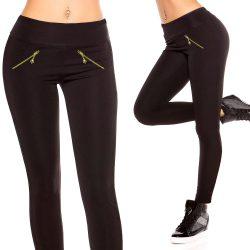 Cipzár díszes fekete leggings nadrág S/M - M/L