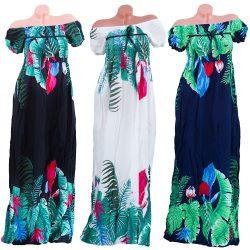 Vállra húzható virágmintás maxi ruha