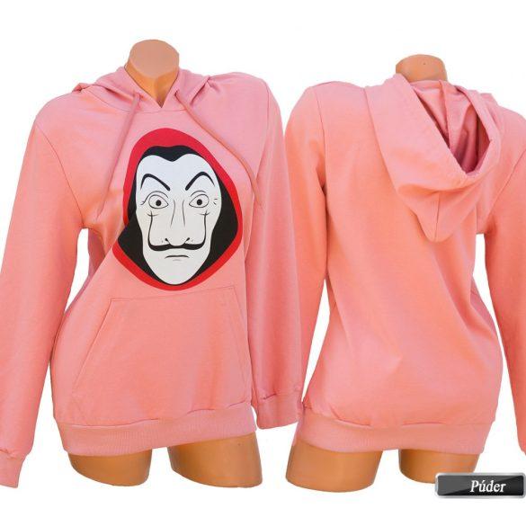 Pénzrablás mintás kapucnis pulóver
