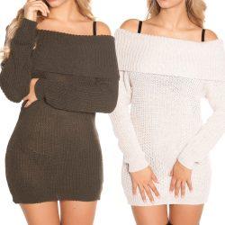 Vállra húzható kötött pulóver