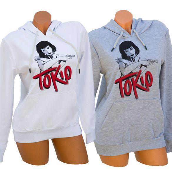 TOKIO feliratos kapucnis női pulóver