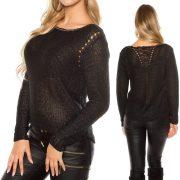 Fekete kötött pulóver
