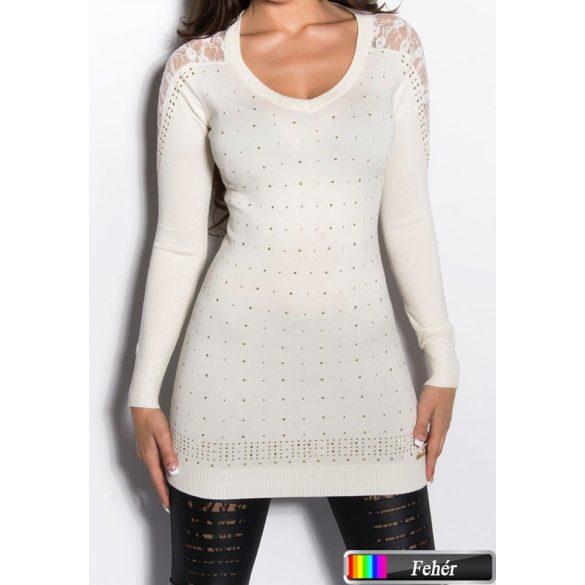Csipkés vállú kötött pulóver