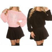 Csavartmintás kötött női pulóver