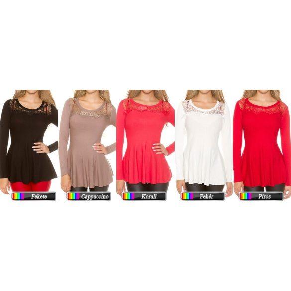 Csipkés peplum pulóver több színben
